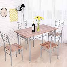 Amazon.com - Tangkula 5 Piece Dining Set, Modern Simple ... Coast To Woodbridge 5pc Ding Room Set With Metal Frame Chairs Astonishing Slate Legs Rooms Ira 5 Piece Black Brown Wood Top Microfiber Seat Transitional Rectangular Table 4 Vintage Genuine Leather Padded Cooper Ii Industrial Counter Height Sage Green Suede Cushion Meridian 779greyc Giselle Series Contemporary Velvet Chair Of 2 Silver Dinette 732greyc Juno China Replica Design Gold Cafe Sets Fniture And Diy Agreeable Trent Used Unopened Black Metal Framed Ding Room Chairs For
