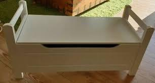 möbel weiß gebeizt 90x52cm hocker sitz aufbewahrungsbox bank
