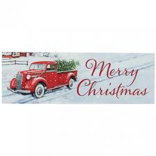 Waterproof Vintage Truck Merry Christmas Sign (5