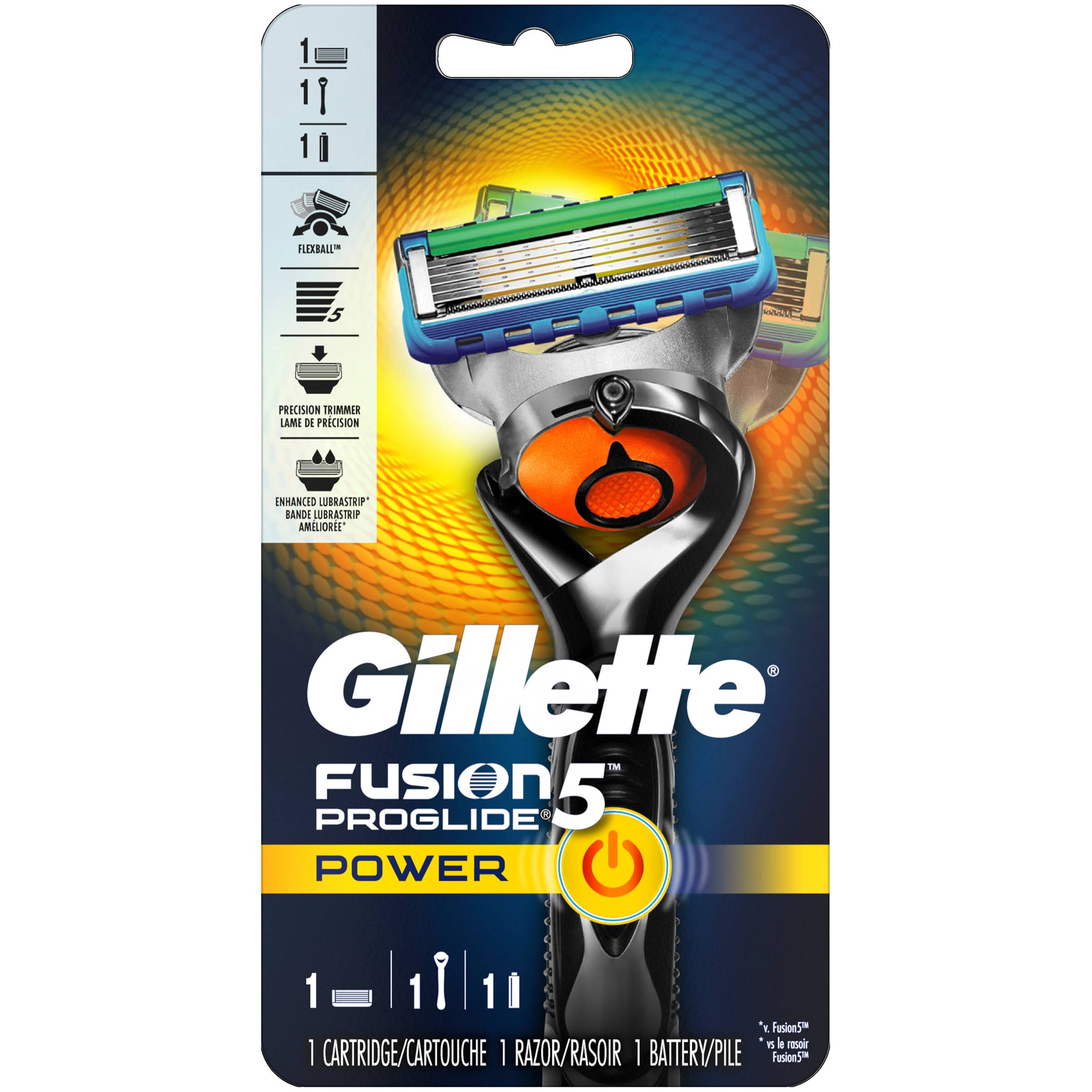 Gillette Fusion5 ProGlide Power Razor - with 1 Cartridge and 1 Battery