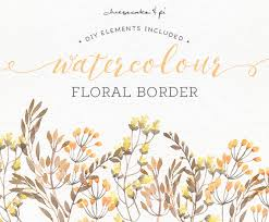 Watercolor Floral Border PNG Clipart Wedding Invitation Clip Art Commercial Use Golden Yellow Brown Autumn Fall CM0072c