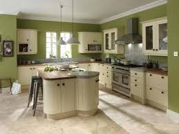 interior light green kitchen walls broken white wooden cabinet