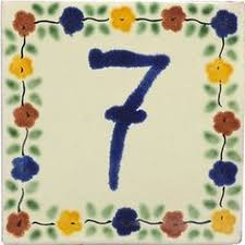 bouquet painted mexican ceramic house number tile for the