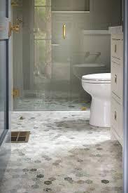 blue and gray hexagon bathroom floor tiles contemporary bathroom