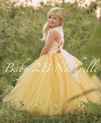 Yellow Flower Girl Dress Shabby Chic Lace Dress Tulle dress Wedding