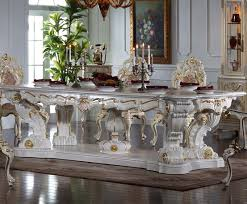 Italian Baroque Style Hand Carved Luxury Table Sets Classical French Gilt Wood Carving Painted Long Dining