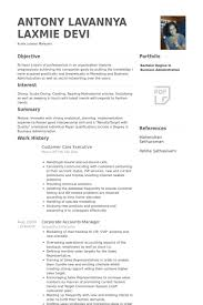 Customer Care Executive Resume Samples