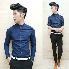 Free Shipping 2013 New Styles Retro Fashion Mens ShirtsSmall Round NeckSingle Row Multi ButtonNavy Blue