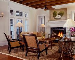Island Style Living Room Photo In Tampa With Beige Walls And A Standard Fireplace