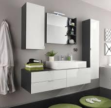 trendteam badmöbel set 5 teilig mit waschbecken hochglanz weiß und grau 1438 903 03