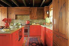 Rustic Red Kitchen Cabinets Base Made A Strong Design Statement In Space