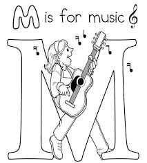Musical Coloring Page With M Text For Preschoolers
