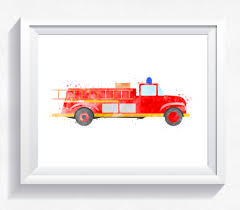 100 Fire Truck Wall Art Watercolor Fire Truck Fire Engine Printable Fire Truck Wall Art Rescue