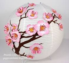 Cherry Blossom Chinese Lantern And Inking Edges Video Tutorial Japanese Paper LanternsChinese LanternsLantern MakingRed