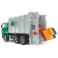 Bruder Toys MAN Back Loading Garbage Waste Toy Truck Vehicle With 2 ...