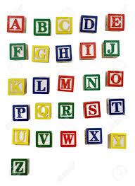 Colorful Wood Block Letters Isolated A White Background Stock
