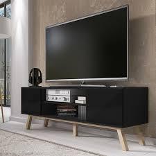 möbel tv wohnzimmer möbel vero holz 150 cm matt schwarz hellschwarz scandi stil ölbuche füsse