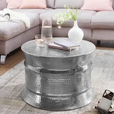 couchtisch karam 62x41x62cm aluminium silber beistelltisch orientalisch rund flacher hammerschlag sofatisch metall design wohnzimmertisch modern