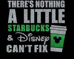 86 Theres Nothing A Little Starbucks Disney Silver Green Iron On Glitter Vinyl Transfer DIY Applique Patch Rose Gold Available