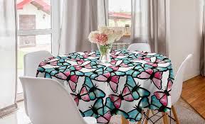 abakuhaus tischdecke kreis tischdecke abdeckung für esszimmer küche dekoration teal blau und rosa tier kaufen otto