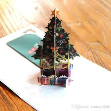 3D Pop Up Cards Merry Christmas Origami Paper Laser Cut Postcards Gift Greeting Handmade Blank Colourful Tree