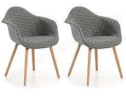 chaises fauteuil chaise lf lot de 2 fauteuils kenna pied de poule pas cher ubaldi com