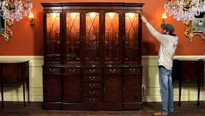 high end mahogany china cabinet with dimmable interior lights