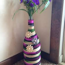 Wine Bottle Vase Yarn Decor Flower Unique Home