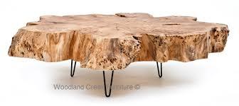 burl wood coffee table slab cocktail thick massive