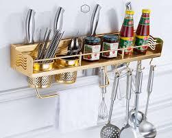 wand montiert edelstahl gold küche regal und veranstalter halter metall hängen küche storage rack für utensilien