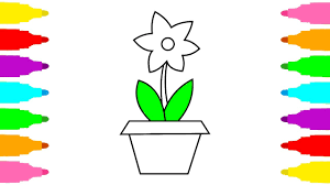 Coloring And Drawing Flower Pot For Kids