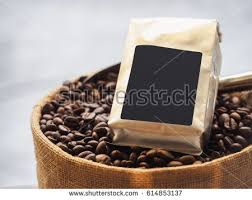 Coffee Beans Package Blank Label Mock Up Cafe Retail Shop Display