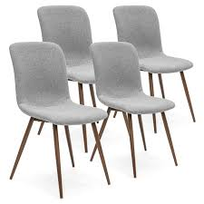 BestChoiceProducts: Best Choice Products Set Of 4 Mid-Century Modern Dining  Room Chairs W/ Fabric Upholstery And Metal Legs - Gray | Rakuten.com