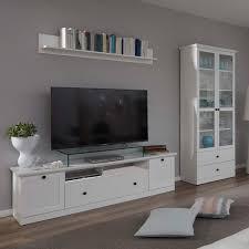 anbauwand wohnwand wohnzimmer tv möbel fernsehschrank mediawand weiß nachbildung 2 tlg