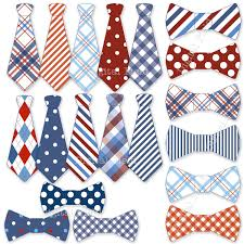 Necktie and Tie Bow clip art set blue white red printable