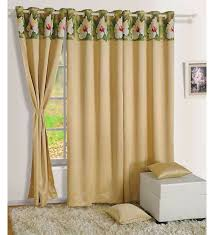 Faux Silk Eyelet Curtains by Buy Cream Faux Silk Solid Blackout Eyelet Curtain By Swayam Online