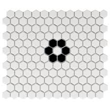 Home Depot Floor Tiles Porcelain by Merola Tile Metro Hex Matte White With Single Flower 10 1 4 In X