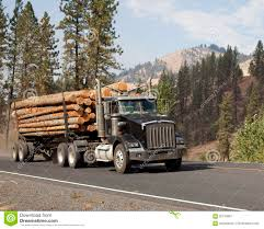 Western Long Log Tandem Trailer Truck Stock Image - Image Of Logging ...