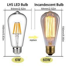 supli 4 pack led filament bulb dimmable 6w st64 vintage edison