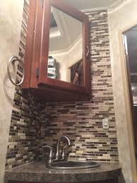 Camper Interior Decorating Ideas by Rv Bathroom Backsplash Done In 1 Hour With Peel And Stick Smart