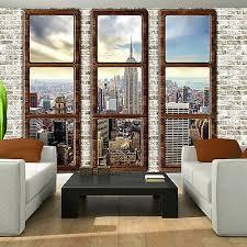 fototapete new york fensterblick steinoptik wohnzimmer