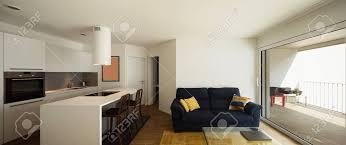 moderner offener raum mit eleganter küche und wohnzimmer niemand innen