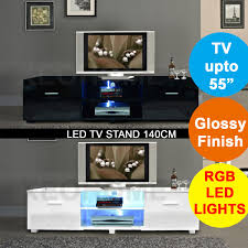 Details About XeoHome Modern High Gloss TV Cabinet Unit Stand RGB LED Light Home 140cm