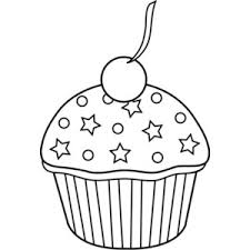 Cute Colorable Cupcake Design Free Clip Art