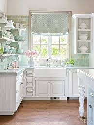 Pretty White Shabby Chic Kitchen Especially Love The Pale Green Country Style Find This Pin And More On Decor