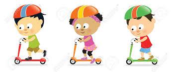 7624528 Kids On Scooters 2 Stock Vector Cartoon Children