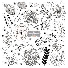 Rustic Wedding Clipart Flower Hand Drawn 1burlapandlace