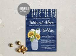 Rustic Wedding Invitation Sunflower Printable Blue Yellow Invite Fall