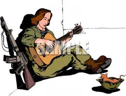 Royalty Free Clip Art Image Female Soldier Playing A Guitar During R And