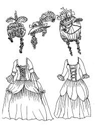 Doll Dress Marie Antionette French 1789 Colouring Page